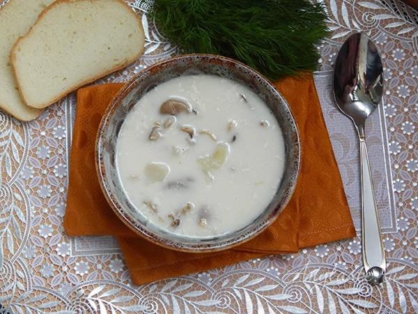 Грибной суп с плавленым сыром
